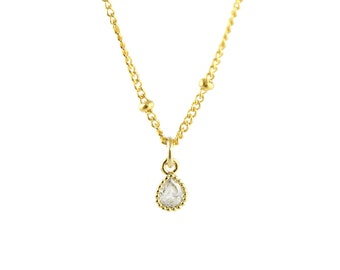 Starry CZ Teardrop Necklace, Dainty Gold Necklace, Simple Necklace, Silver Necklace, Minimalist Necklace, Bridesmaid Gift, Satellite Chain