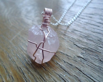 Rose Quartz Necklace - Heart Chakra Necklace - Wire Wrapped Rose Quartz - Love Stone - Rose Gold Jewelry - Handmade Gifts