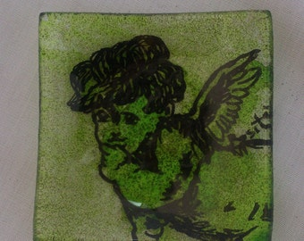 Glass plate decorated with Angel