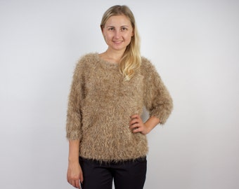 Brown Mohair Women Sweater 80s 90s Vintage Jumper Size Large