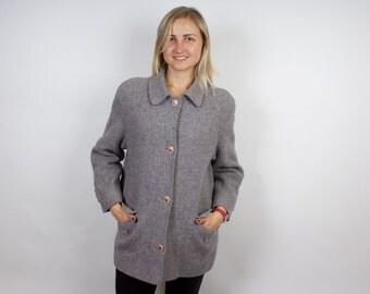 Grey Woolen Coat Women Coat Jacket Vintage Cardigan Winter Raincoat Wool Overcoat High Fshion