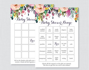 Floral Baby Shower Bingo Cards - Printable Blank Bingo Cards AND PreFilled Cards - Colorful Flower Baby Shower Bingo Cards - 0025-B