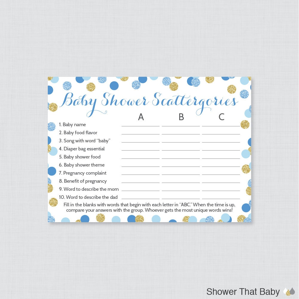Blue And Gold Baby Shower Scattergories Game Printable