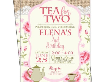 Tea Party, Tea for Two, Tea Party Birthday, Girl Birthday, Tea for Two Birthday, Tea Party Invitation, Party Invite, Tea Cup Party
