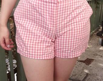Orange Gingham High Waisted Shorts