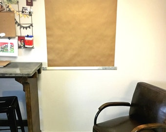 Brown Contractor's Paper Roll Wall Mount Industrial Modern Office Memo Message Board Dispenser