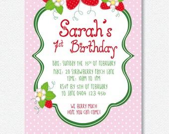 Strawberry Invitation |  Personalised Digital file