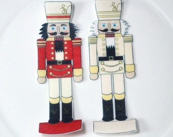 Edible Nutcracker Soldiers Red Cream Figure Wafer Paper Winter Nut Cracker Birthday Cake Decoration Cupcake Topper White Holiday Wedding