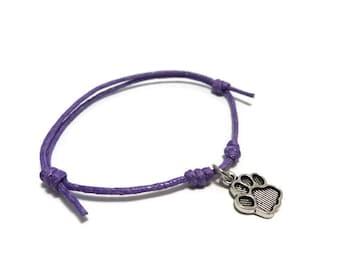 Paw Print Bracelet, Paw Print Anklet, Paw Print Jewelry, Dog Bracelet, Animal Bracelet, Sliding Knot, Charm Bracelet, Adjustable Bracelet