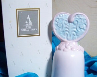 "Vintage Avon  ""LOVE BEGINNING"" Porcelain Bell, Valentine Collection New In Box ~ Circa  1995~  Beautiful~ Pristine Condition ~50% Off"