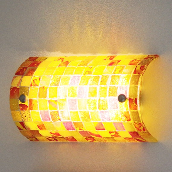 Mosaic Glass Wall Sconces : Fused Glass Wall Sconce. Mosaic Design Lighting. Lighting