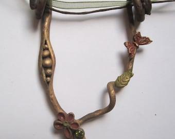 Necklace bronze elven flower leaf Butterfly zirconia green ribbons