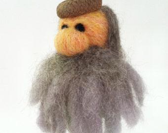 Gnome Ornament, Needle Felted Wool, Acorn Cap, Old Man Winter, Decor
