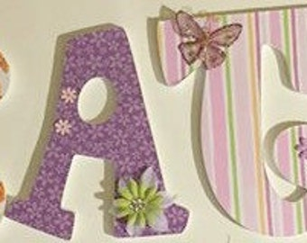 butterfly wall letters, Pink and lavender wood letters, Kate, custom letters, green and pink, decorative letters, baby nursery letters