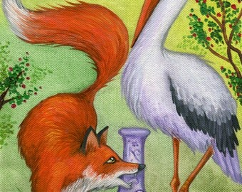 The Fox and the Stork - Illustration - Aesop's Fables - Print of Original Painting Oil on Canvas