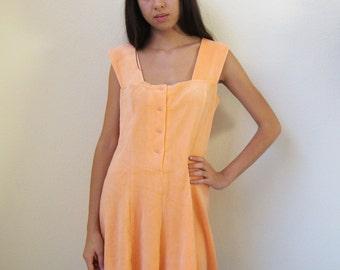 PEACH DRESS -pastel, kawaii, cute, summer, velvet, cyber, seapunk, orange, aesthetics, hippie, skater, indie, cheerleader, schoolgirl-