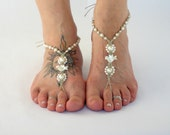 Wedding Sandals with Mother of Pearl Doves, Barefoot Sandals, Barefoot Jewelry, Foot Accessories, Beach Weddings, Bride Sandals, White Ivory