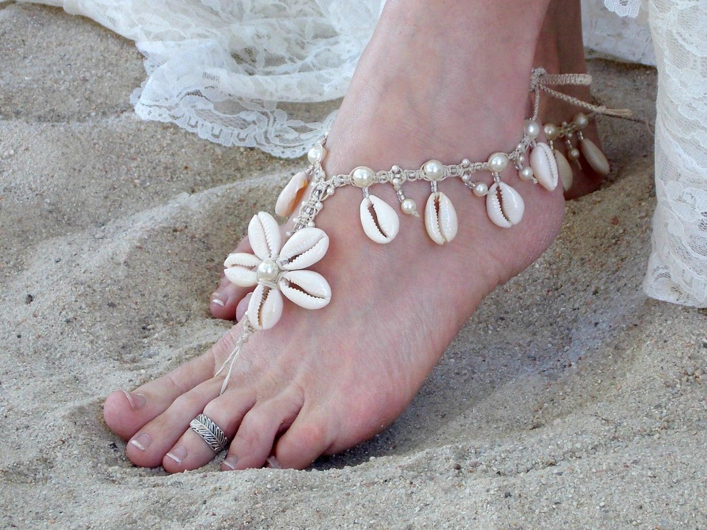 Beach Wedding Barefoot Sandals Cowrie Sea Shell Flower Bride