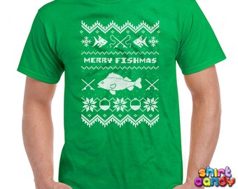 Funny Christmas TShirt Merry Fishmas Shirt Fishing Shirt Gifts For Him Holiday Shirts Christmas Shirts Christmas Gifts Xmas Mens Tee DN-210