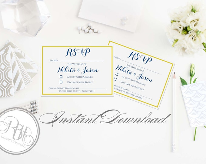 "Nautical RSVP Card Reply Template-INSTANT DOWNLOAD pdf Text Editable Only - Nautical Navy & Yellow-""Xena"""