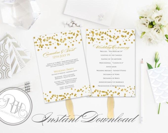 Gold Sparkle Wedding Program Fan Template -Instant DOWNLOAD - EDITABLE TEXT pdf Only - Gold Sparkle Polka Dots 5 x 7-Elizabeth