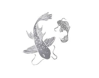 Koi Fish Set Rubber Stamp   020115