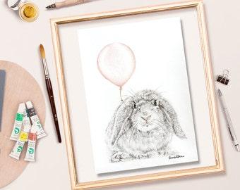 Bunny Rabbit Original Pencil Drawing, Artwork Of A Rabbit With A Pink Balloon