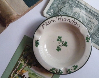 Irish Carrig Ware Souvenir, Carrigaline, Ireland, Ashtray with Shamrocks, St. Patrick's Day, Trinkets, Good Luck, Carrigdhoun, County Cork