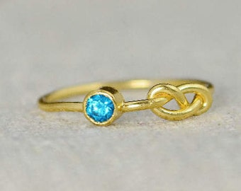 Blue Zircon Infinity Ring, Gold Filled Ring, Stackable Rings, Mother's Ring, December Birthstone Ring, Gold Infinity Ring, Gold Knot Ring