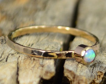 Classic Solid 14k Gold Opal Ring, 3mm gold solitaire, October's Birthstone, 14k gold filled, Solitiare, Mothers Ring, Solid gold band, gold