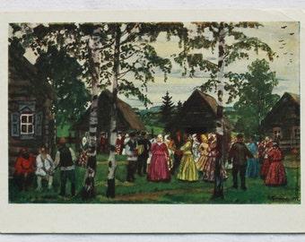 "Kustodiev ""Round Dance"" Vintage Soviet Postcard - 1957. Izogiz Publ. Village Festival, Russian peasants, Dancing woman"