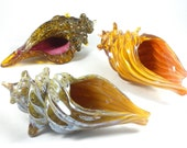 Glass Conch Shells- hand sculpted glass, conch shell, beach, ocean, seashells, coastal decor, gold, silver, bronze, great gift idea, unique
