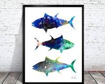 Tuna Watercolor Print, Tuna art, watercolor animal, Tuna silhouette, animal print, Tuna print, shark poster,  animal Illustration