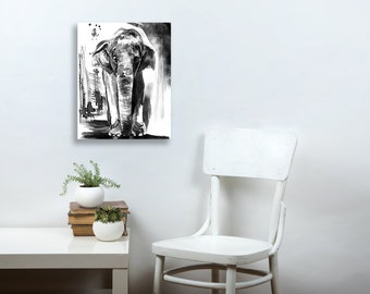 Elephant Canvas art, jungle nursery, Elephant Decor,  Black And White, Elephant Decor, masculine decor, animal art,  11x14, wall art, 16x20