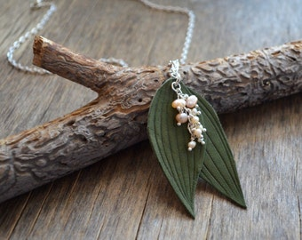 necklace may-lily leaves, may-lily green leaf leather pendant, handmade necklace, Elf Necklace, Woodland Necklace, green Leaf Necklace