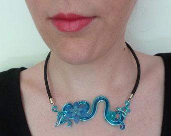 Necklace blue aluminum