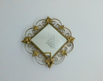 Gold metal vintage mirror