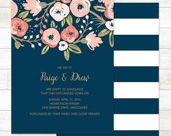Wedding Announcement, Elope Announcement, Wedding Announcement Printable, Floral Wedding Announcement, Boho Wedding Announcement