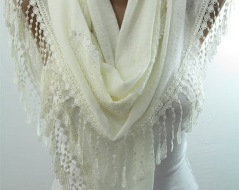Lace Scarf Shawl Fall Winter Cream Wedding Scarf Wrap Prom Scarf Bridal Accessories Bridesmaids Gifts Cowl Scarf Women Fashion Accessories