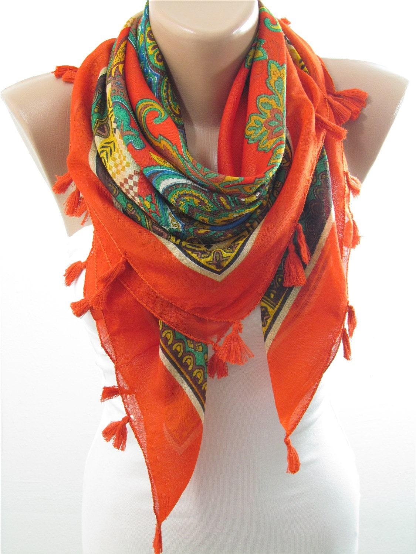 tassel scarf bohemian scarf scarf hippie scarf wrap