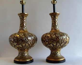 Pair of Huge Vintage Hollywood Regency, Rococo Style Gold and Silver Metallic Finish Table Lamps By Fortune Lamp Co.