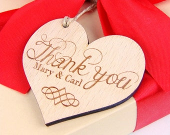 Custom Thank You Tags Set, Wood Thanks You Tags, Wedding Thank You Cards, Wedding Accessories, Engraved Tags, Wedding favor, Heart Tags