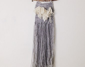 Long Skinny Gray Neutral Fringe Woven Wall Hanging