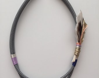 Tickle Your Fancy feathered necklace blush
