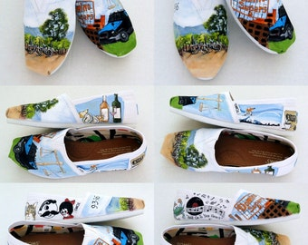 Baltimore Wedding Shoes, Hand Painted TOMS, Heirloom Bridal Shoes, Bridal Dress Shoes, Bridal Shower Gift, Bride's Love Story Wedding Shoes