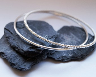 Beaded Sterling Silver Bangle Duo ~ simple, modern, stacking, bangle, bracelet, wedding, bridesmaid, gift, birthday