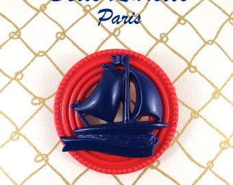 Navy Blue SHIP and Red Ring BROOCH.