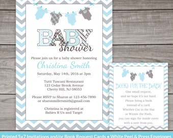 Blue and Grey Baby Shower Invitations - Printed Invitations and Envelopes - Boy Baby Shower -  Baby-154
