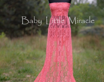 READY TO SHIP, 3in1,Pamela Coral Lace Maternity Dress, Maternity Gown, Maternity Photo Prop, Photography Prop, Maternity Gown