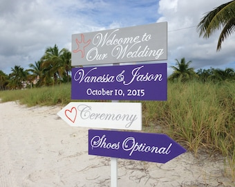 Welcome Wedding Directional Sign, Beach Ceremony Decor, Shoes Optional, Gift Idea for couple